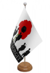 Lest We Forget Army Desk / Table Flag with wooden stand and base